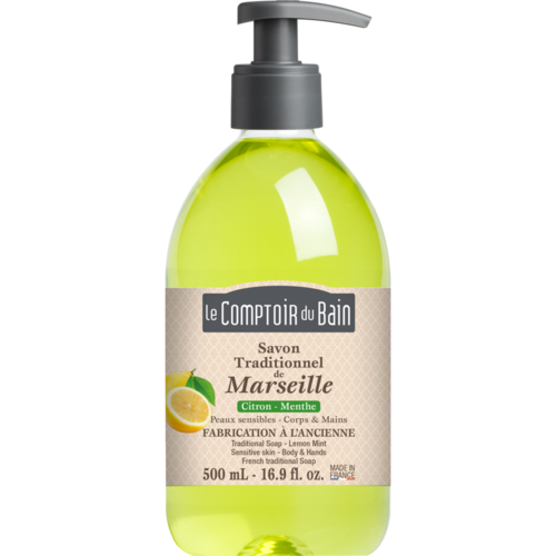 Traditional Marseille Soap -  Lemon Mint - 500 ml