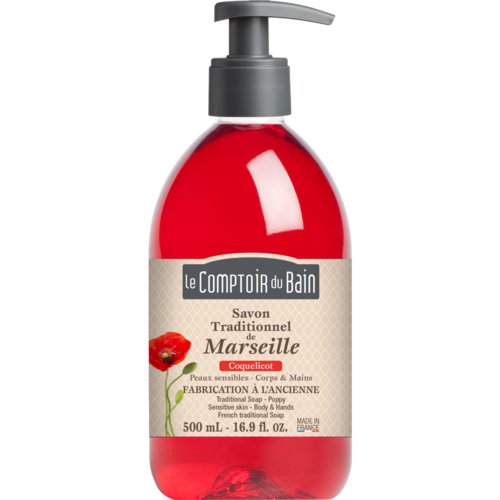 Traditional Marseille Soap - Poppy - 500 ml