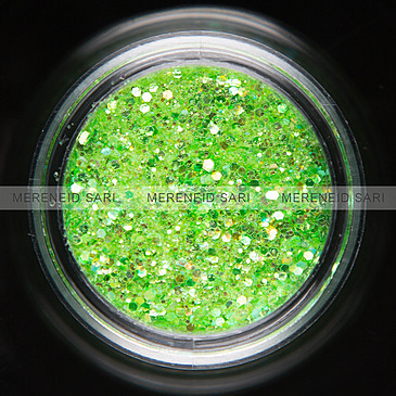Glitter Hexi-mixed sizes Rainbow Light Green 3 g